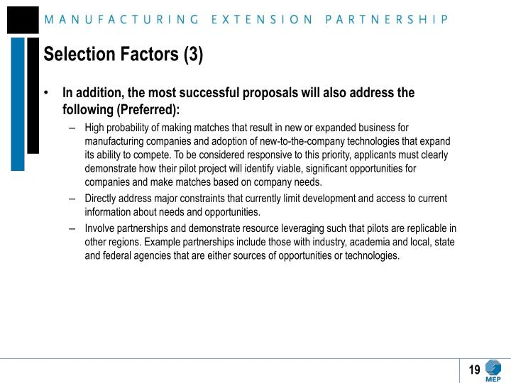 Selection Factors (3)
