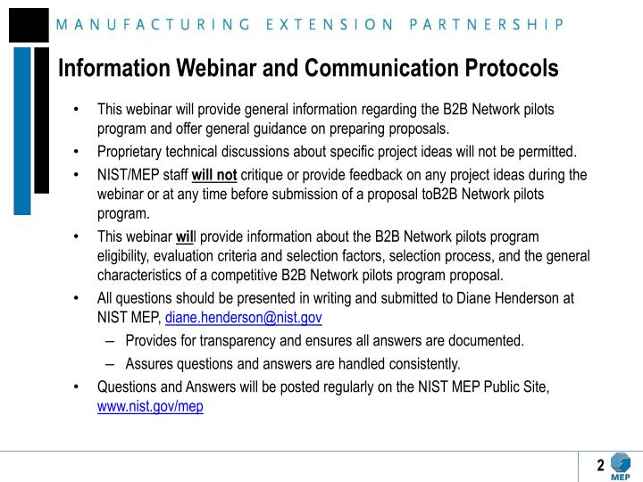 Information Webinar and Communication Protocols