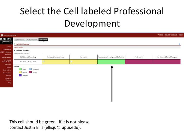 Select the Cell labeled Professional Development