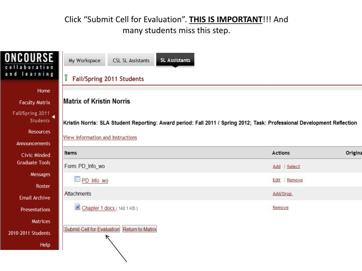 """Click """"Submit Cell for Evaluation""""."""