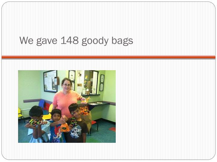 We gave 148 goody bags