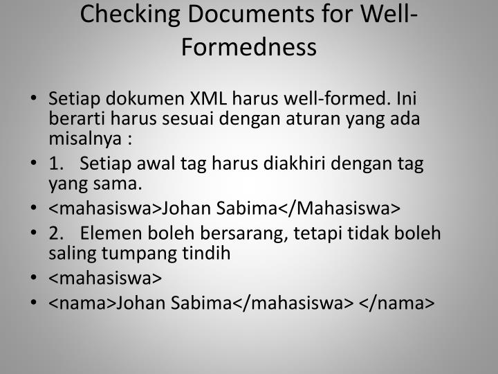 Checking Documents for Well-