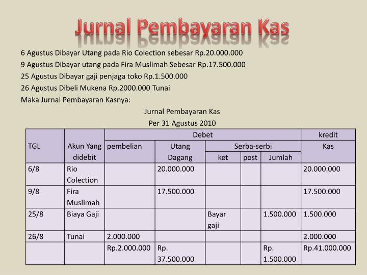 Jurnal Pembayaran Kas