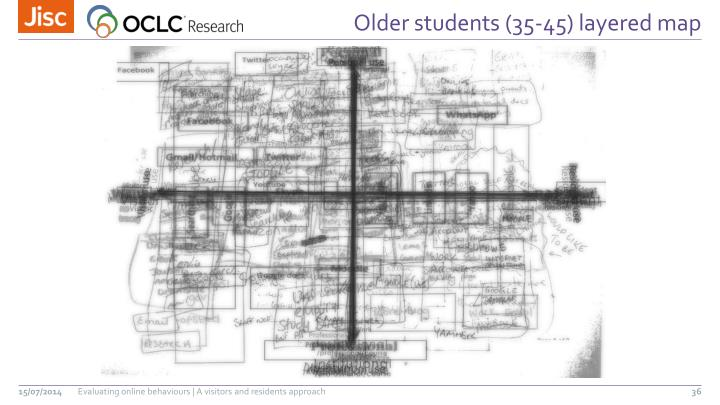 Older students (35-45) layered map