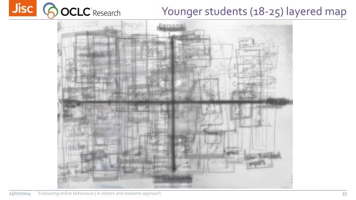 Younger students (18-25) layered map