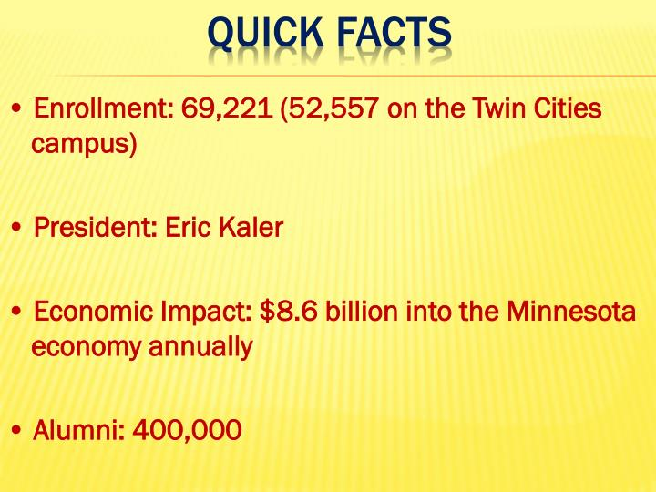 • Enrollment: 69,221 (52,557 on the Twin Cities campus)