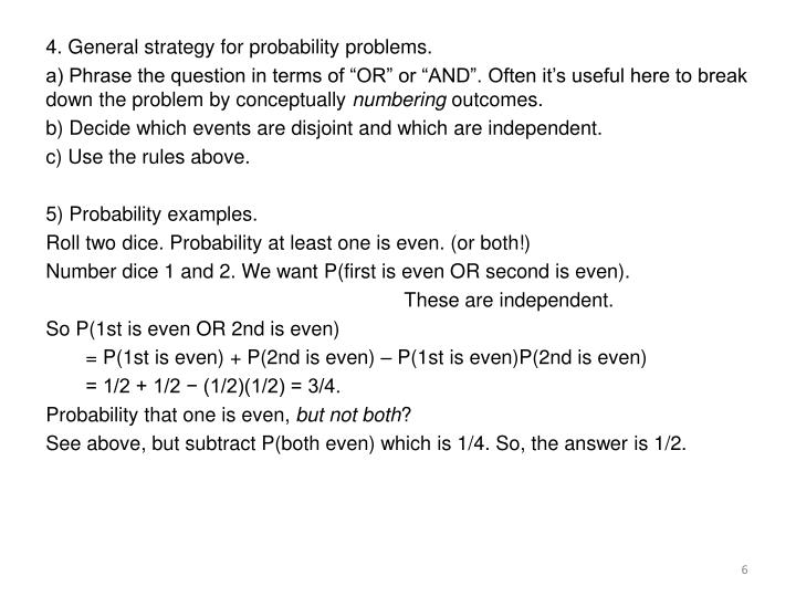 4. General strategy for probability problems.
