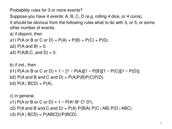Probability rules for 3 or more events?