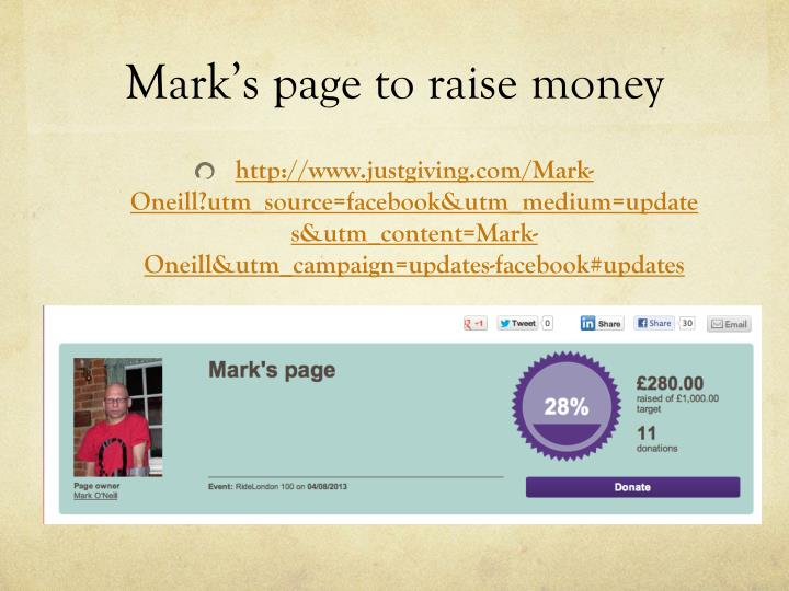 Mark's page to raise money