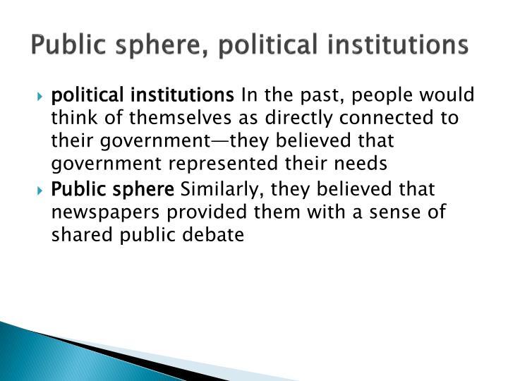 Public sphere, political institutions