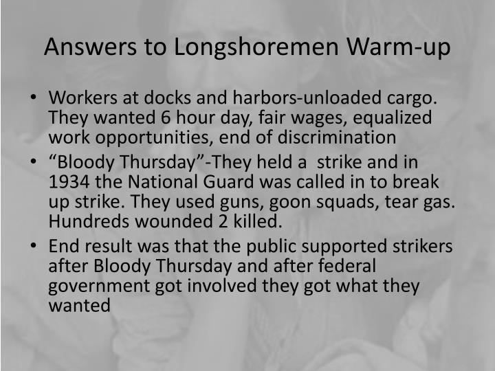 Answers to Longshoremen Warm-up
