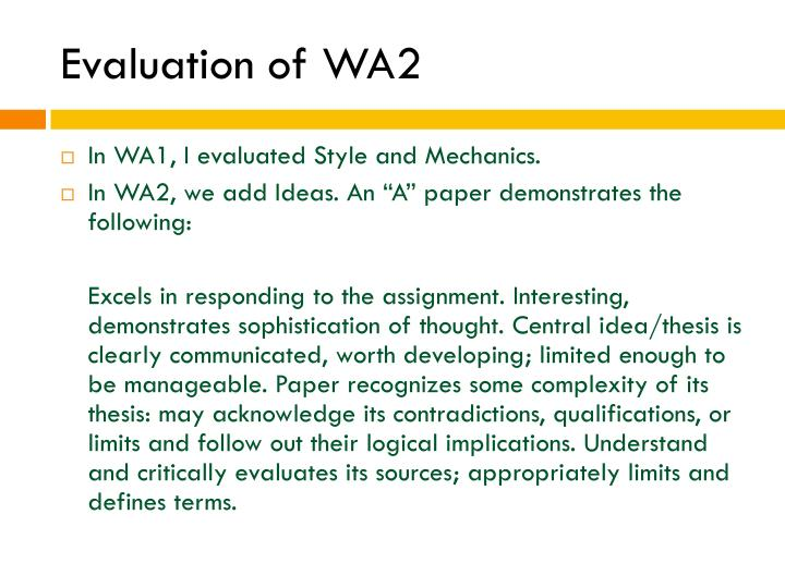 Evaluation of WA2