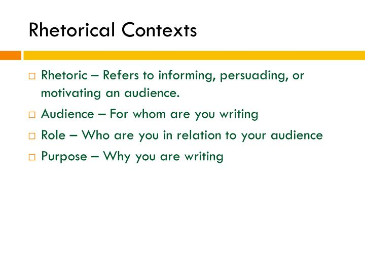 Rhetorical Contexts