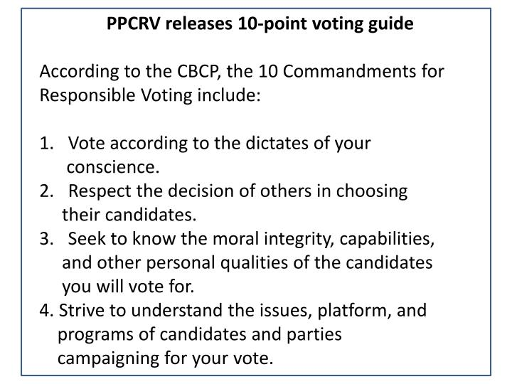 PPCRV releases 10-point voting guide