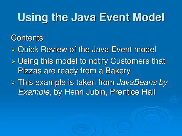 Using the java event model