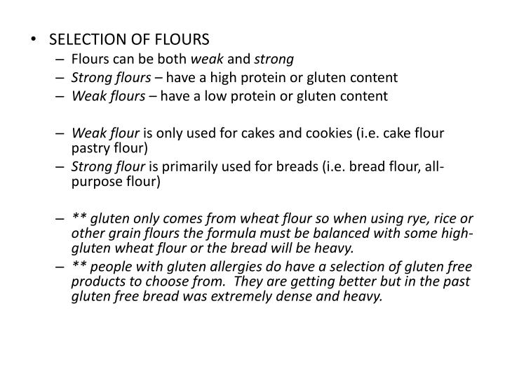 SELECTION OF FLOURS