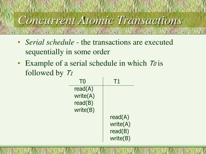 Concurrent Atomic Transactions
