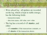 log based recovery