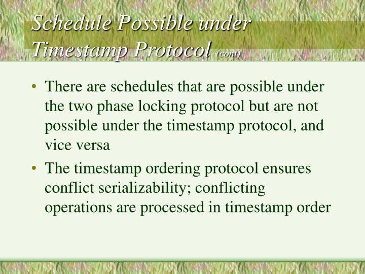 Schedule Possible under Timestamp Protocol