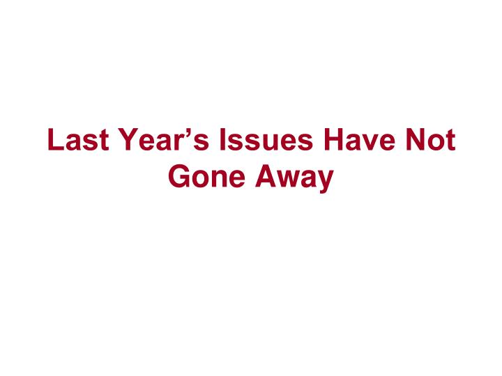 Last Year's Issues Have Not Gone Away
