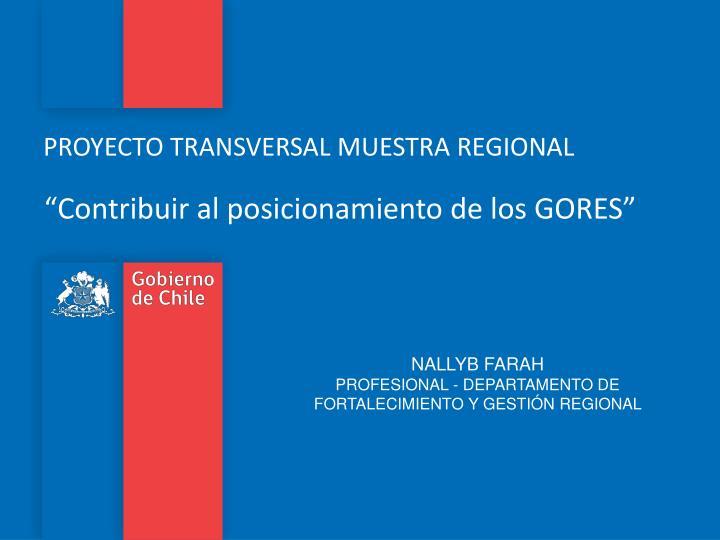 PROYECTO TRANSVERSAL MUESTRA REGIONAL