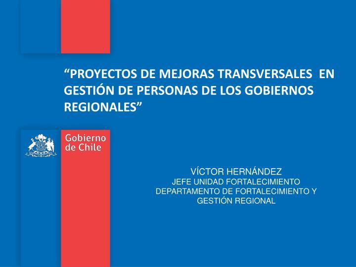 """""""PROYECTOS DE MEJORAS TRANSVERSALES  EN GESTIÓN DE PERSONAS DE LOS GOBIERNOS REGIONALES"""""""