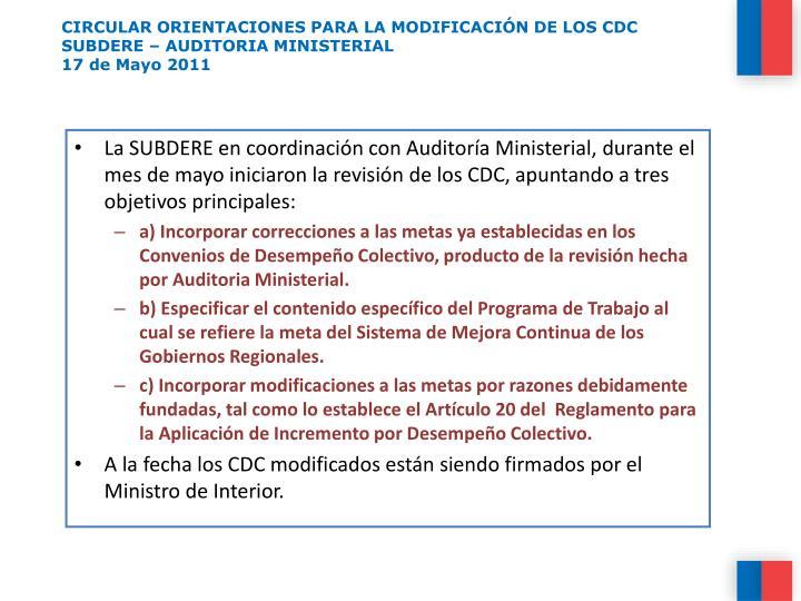 CIRCULAR ORIENTACIONES PARA LA MODIFICACIÓN DE LOS CDC