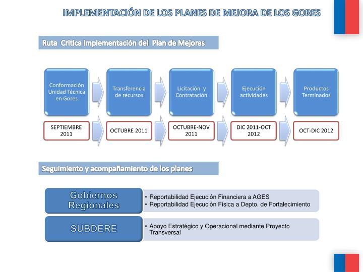 IMPLEMENTACIÓN DE LOS PLANES DE MEJORA DE LOS GORES