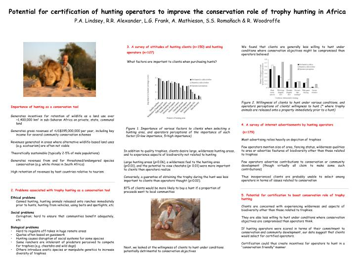 Potential for certification of hunting operators to improve the conservation role of trophy hunting ...