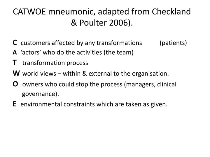 CATWOE mneumonic, adapted from Checkland & Poulter 2006).