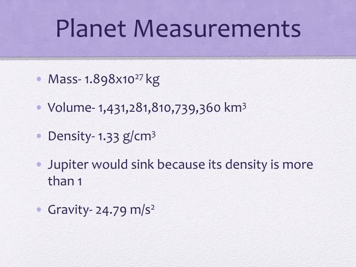 Planet Measurements