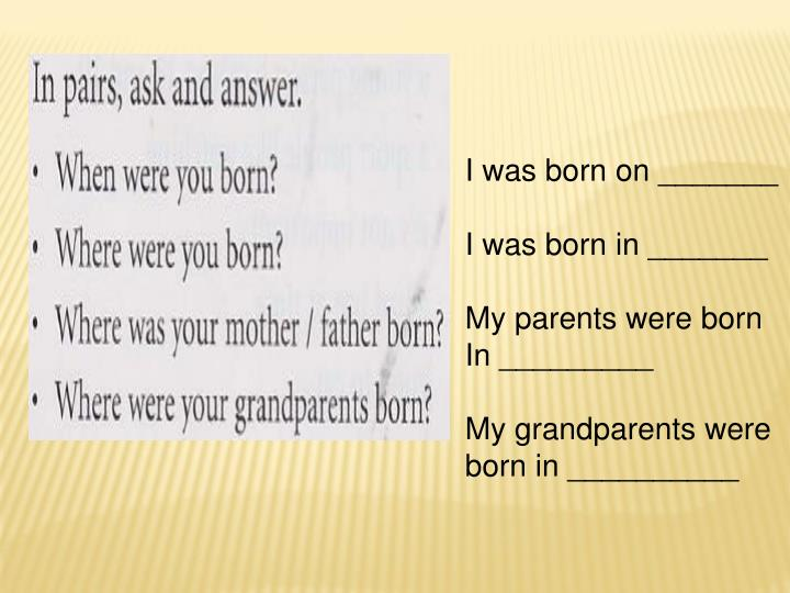I was born on _______