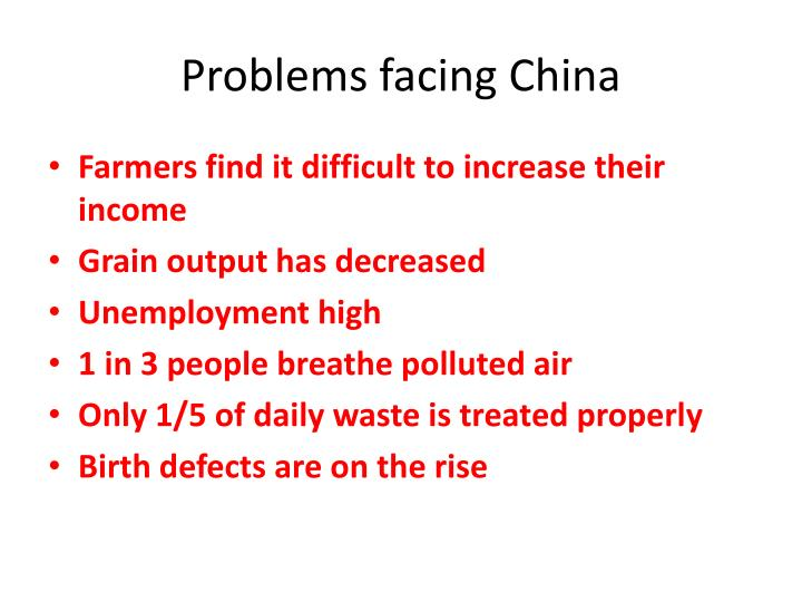 Problems facing China