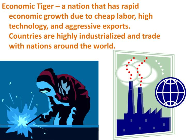 Economic Tiger – a nation that has rapid economic growth due to cheap labor, high technology, and aggressive exports.  Countries are highly industrialized and trade with nations around the world.
