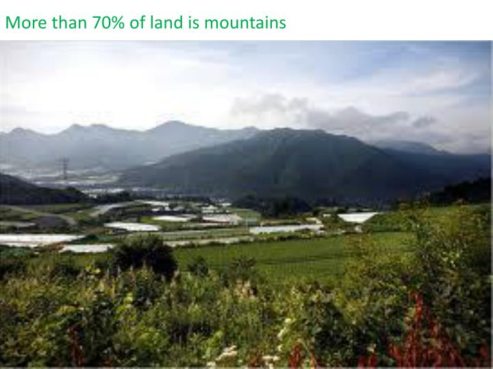 More than 70% of land is mountains