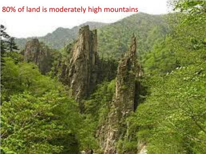 80% of land is moderately high mountains