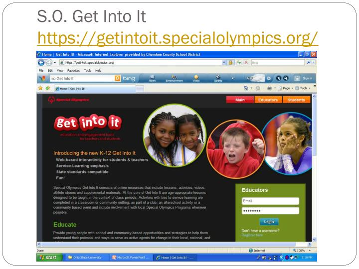 S o get into it https getintoit specialolympics org