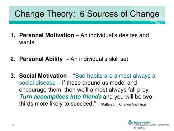 Change Theory:  6 Sources of Change