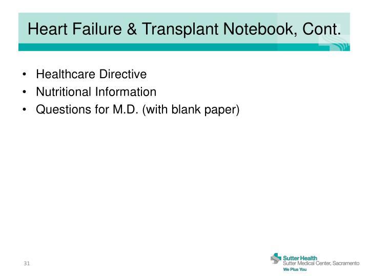 Heart Failure & Transplant Notebook, Cont.