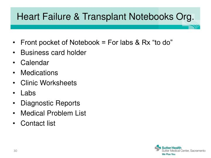 Heart Failure & Transplant Notebooks