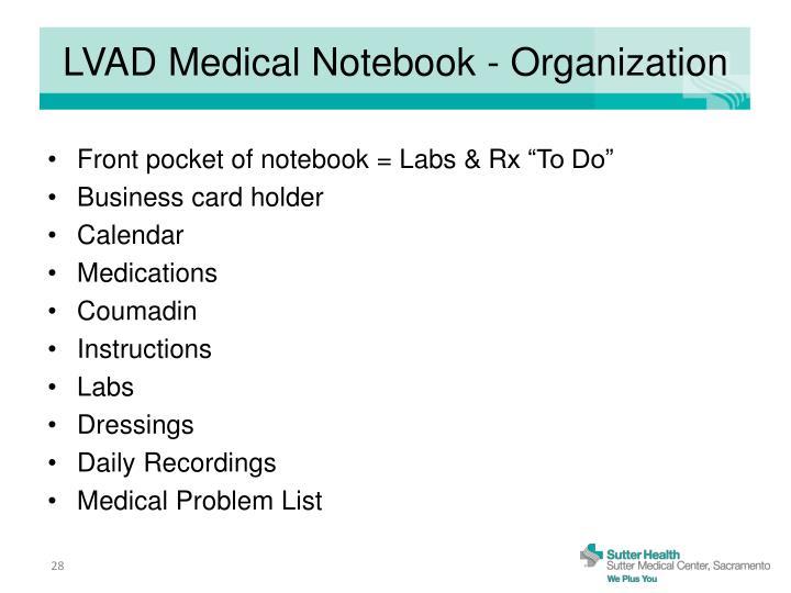 LVAD Medical Notebook - Organization