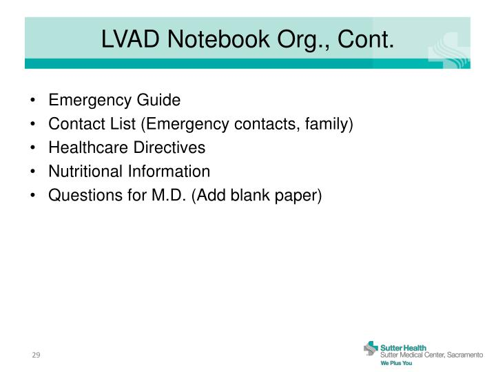 LVAD Notebook Org., Cont.
