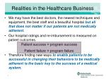 realities in the healthcare business