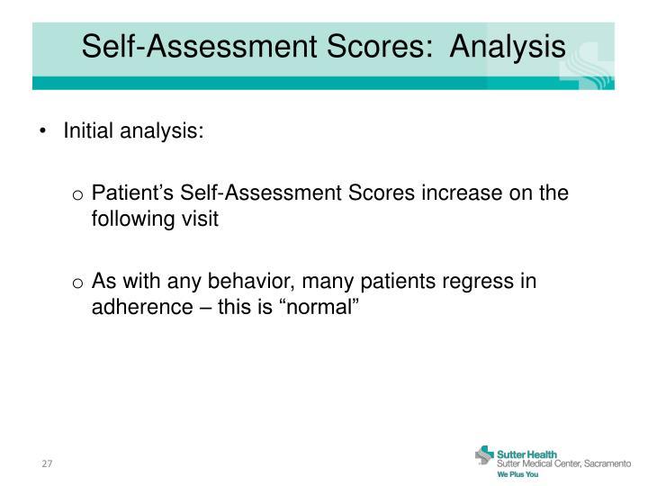 Self-Assessment Scores:  Analysis