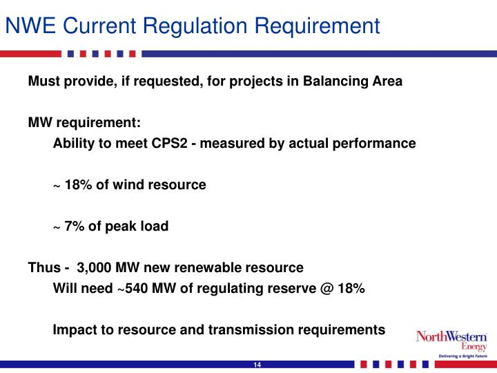 NWE Current Regulation Requirement
