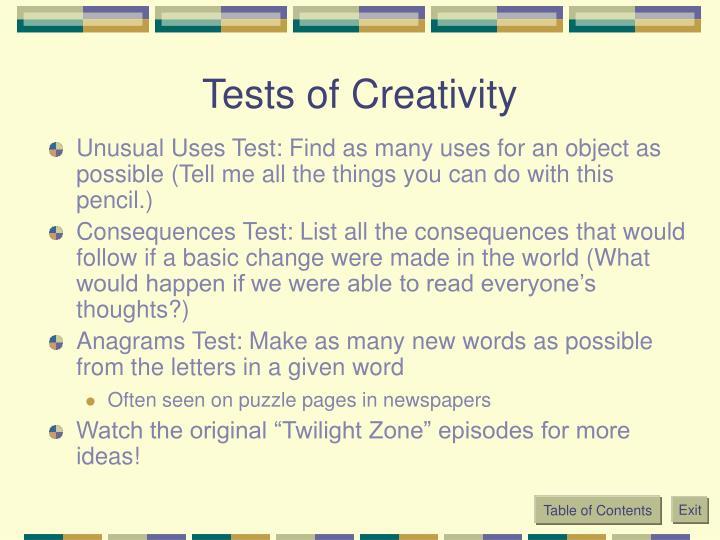Tests of Creativity