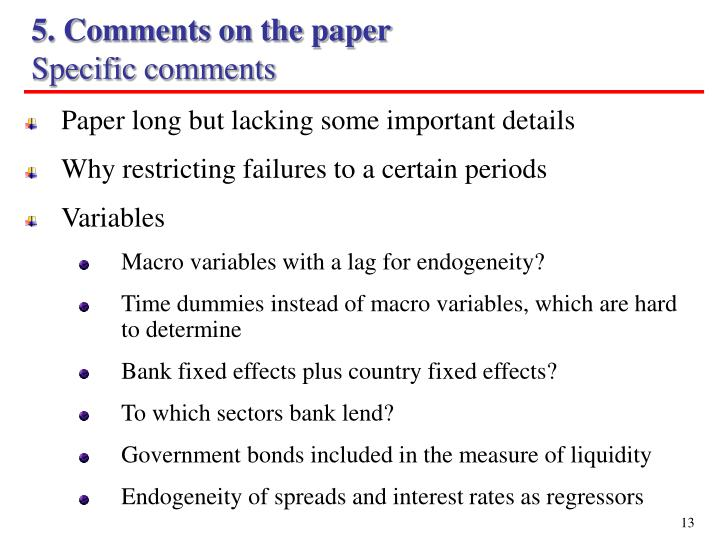 5. Comments on the paper