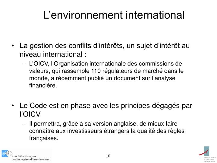 L'environnement international