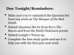 due tonight reminders