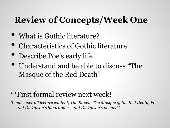 Review of Concepts/Week One